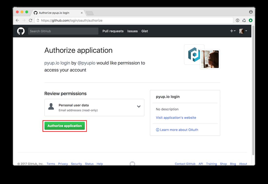 pyup.io authorization