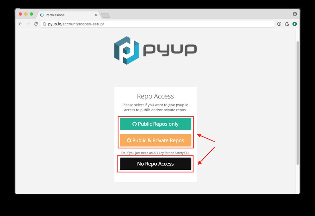 pyup.io permissions